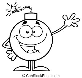 Black And White Funny Bomb Cartoon Mascot Character Waving For Greeting