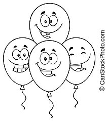 Black And White Four Balloons Cartoon Mascot Character With Expressions