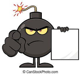 Angry Bomb Cartoon Mascot Character Pointing Outwards And Holding A Blank Sign Form