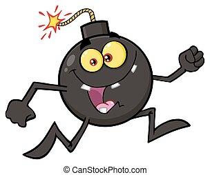 Crazy Bomb Cartoon Mascot Character Running