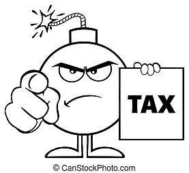 Black And White Angry Bomb Cartoon Mascot Character Pointing And Holding A Tax Sign Form