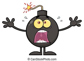 Funny Bomb Cartoon Mascot Character With A Panic Expression