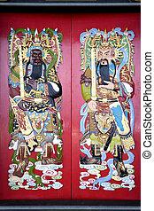 chino, templo, puertas