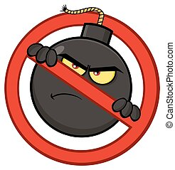 Mad Bomb Cartoon Mascot Character In A Prohibited Symbol Form