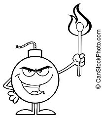 Black And White Evil Bomb Cartoon Mascot Character Holding Up A Flaming Match.