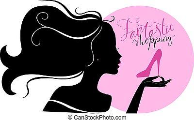Shopaholic girl - Silhouette of young beautiful woman bying...