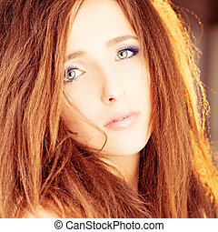 Woman with Red Hair. Fashion Photo