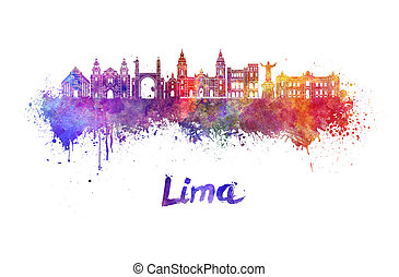 Lima skyline in watercolor splatters with clipping path