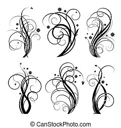 black swirl design - set of floral design element on white...