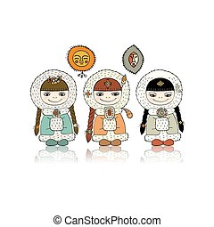North ethnic girls, sketch for your design. Vector...