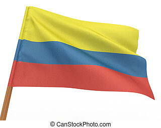flag fluttering in the wind Colombia 3d