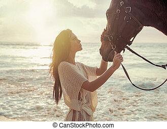 馬, 她, 迷人, 愛人, 夫人, 撫摸, 朋友