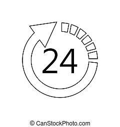 24 7 service icon image vector illustration design