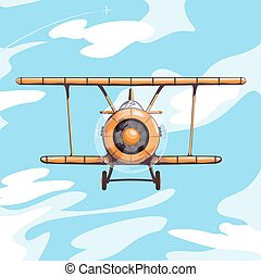 Airplane in the sky vector illustration