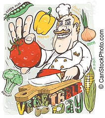 Chef vegetable day vector illustration