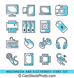 Multimedia and electronics icons set lines blue vector...