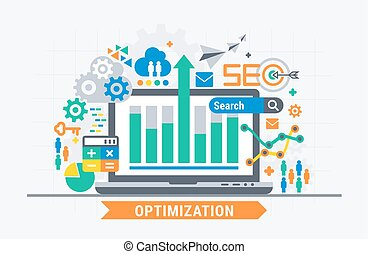 SEO optimization. Flat illustration analytics design.