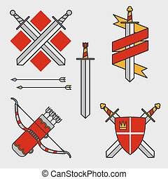 Bows and swords vector illustration