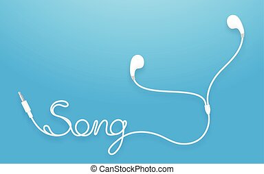 Earphones, Earbud type white color and song text made from cable isolated on blue gradient background, with copy space