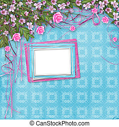 Ornamental abstract background with sakura and roses