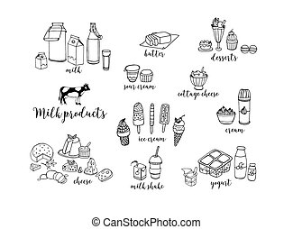 Set of hand drawn contour dairy products. Cheese, milk...