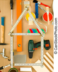 sweet home metre - House shape made from wooden folding...