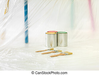 diy ready paint - Three brushes with 3 paint cans with...