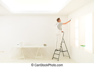 homework male on a ladder - male painting his white home...