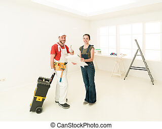 home work smile - repair, building, renovation and people...
