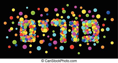 Vector Happy Purim carnival text with colorful rainbow...