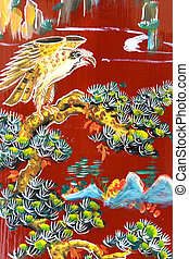 Chinese Temple Wall Art - Traditional artwork on a Chinese...