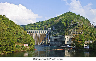 Hydroelectric Dam in the Mountains - A large, very scenic,...