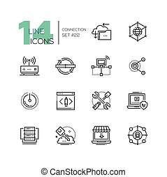 Connection - monochromatic modern single line icons set. -...