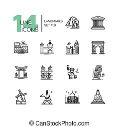 Landmarks - modern single line icons set - Landmarks -...
