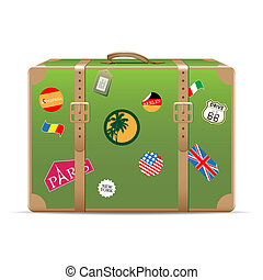 Vintage travel suitcase - Vintage suitcase with travel...