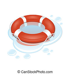 Vector lifebuoy - Vector illustration of red and white...