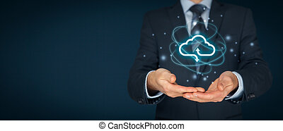 Cloud computing concept - connect to cloud. Businessman or...