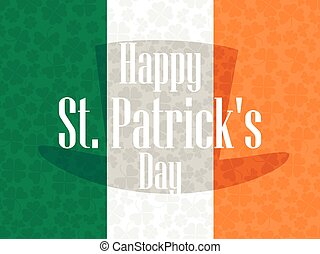 Happy St. Patrick's Day. Festive background with an Irish flag and clover. Vector illustration