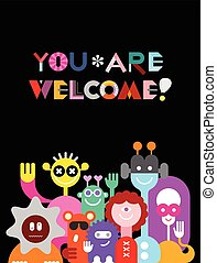 Large Group of Funny Aliens - Large group of friendly funny...