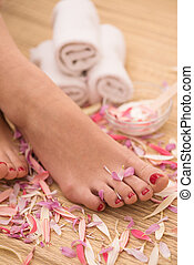 female feet at spa salon