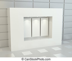 Blank white posters in showcase with illumination, 3D...