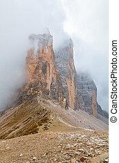 Tre Cime di Lavaredo in beautiful surroundings in the...