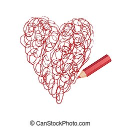 pencil drawing beautiful heart - Vector stylized heart...
