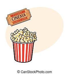 Cinema objects - popcorn bucket and retro style ticket
