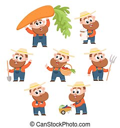 Funny farmer, gardener character in different poses