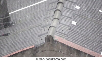 hailing over top of asbestos roof in super slow motion -...