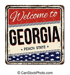 Welcome to Georgia vintage rusty metal sign