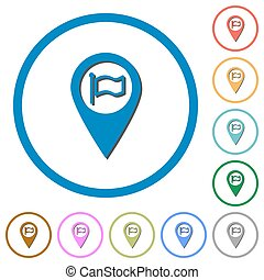 Destination GPS map location icons with shadows and outlines