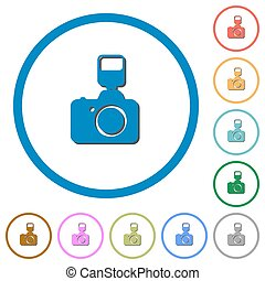 Camera with flash icons with shadows and outlines - Camera...