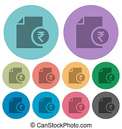 Indian Rupee financial report color darker flat icons -...